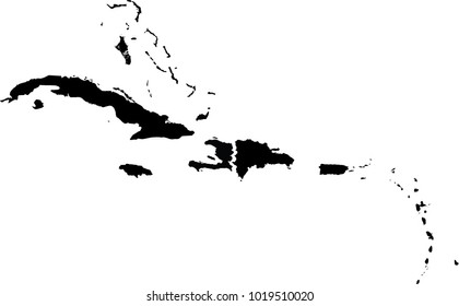 Vector map of Caribbean Sea. Black mask. Isolated, white background.