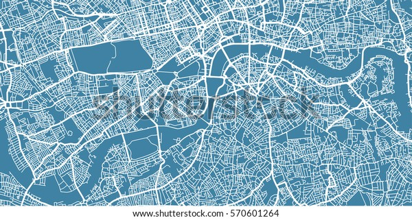 Vector map of  center of London, UK