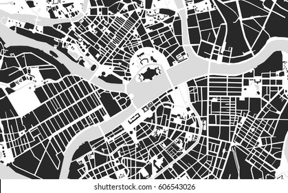 Vector map of the center of Saint Petersburg black and white, Russia