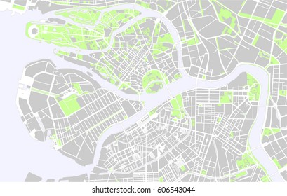 Vector map of the center of Saint Petersburg, Russia
