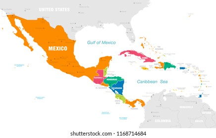 Vector map of Central America with Countries, Capitals, Main Cities and Seas and islands names in strong brilliant colors palette.