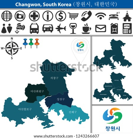 Vector Map Changwon South Korea Named Stock Vector (Royalty Free