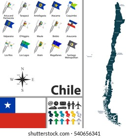 Vector map of Chile with regions with flags