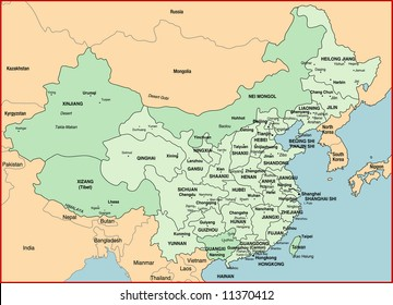 vector map of the China