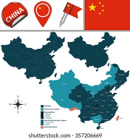 Vector map of China with named divisions and travel icons