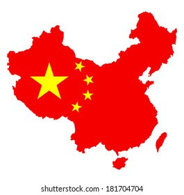 Vector map of China with national flag isolated on white background.