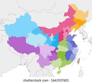 China-Vektorillustration mit Nachbarländern und -gebieten