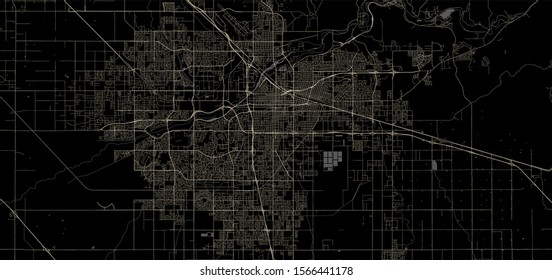 vector map of the city of Bakersfield, California, United States America