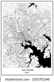 vector map of the city of Baltimore, Maryland, USA