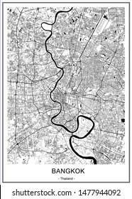vector map of the city of Bangkok, Krung Thep Maha Nakhon, Kingdom of Thailand