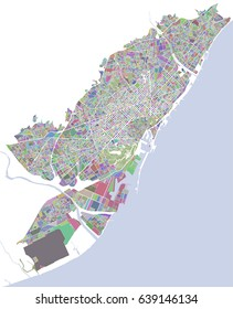 vector map of the city of Barcelona, Spain
