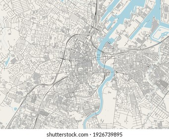 vector map of the city of Belfast, Northern Ireland, UK