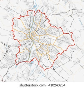 Vector map of the city of Budapest. roads