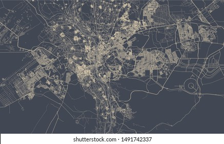 vector map of the city of Cairo, Giza, Egypt