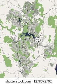 vector map of the city of Canberra, Australian Capital Territory, Australia