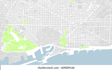 vector map of the city center of Barcelona, Spain