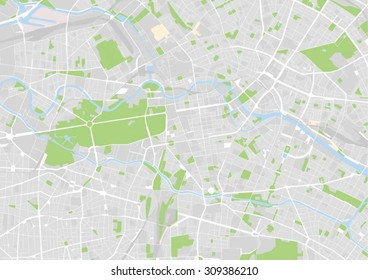 vector map of the city center of Berlin, Germany