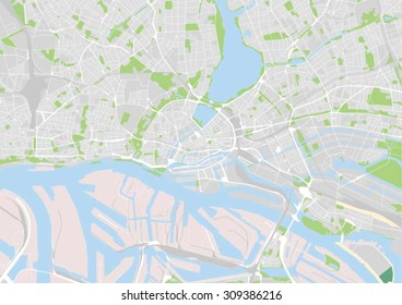 vector map of the city center of Hamburg, Germany