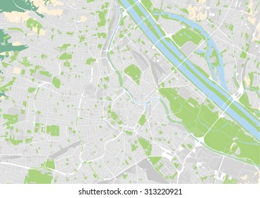vector map of the city center of Vienna, Austria. Elements of this illustration furnished by European Environment Agency.
