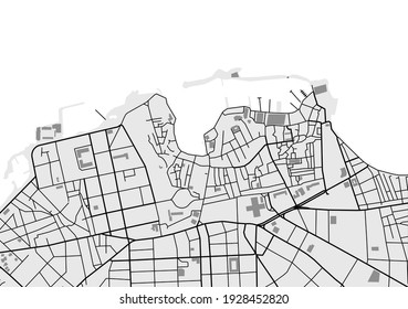 vector map of the city of Chania, Crete, Greece
