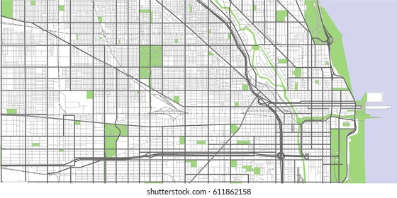 vector map of the city of Chicago, USA