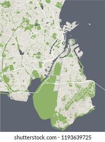 vector map of the city of Copenhagen, Denmark