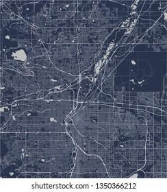 vector map of the city of Denver, Colorado, USA
