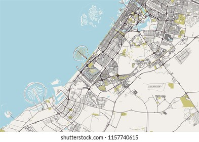 vector map of the city of Dubai, United Arab Emirates (UAE), Dubai-Sharjah-Ajman metropolitan area