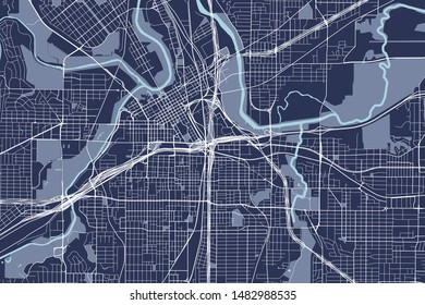 vector map of the city of Fort Worth, Texas, USA