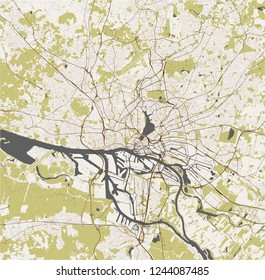 vector map of the city of Hamburg, Free and Hanseatic City of Hamburg, Germany