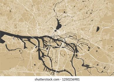 vector map of the city of Hamburg, Free and Hanseatic City of Hamburg, Germany