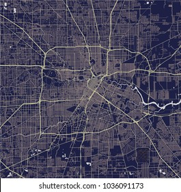 vector map of the city of Houston, U.S. state of Texas, USA