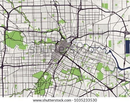 Vector Map City Houston Us State Stock Vector Royalty Free