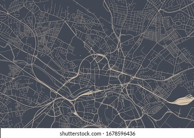 vector map of the city of Leeds, West Yorkshire, Yorkshire and the Humber , England, UK