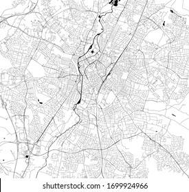 vector map of the city of Leicester, Leicestershire, East Midlands, England, UK