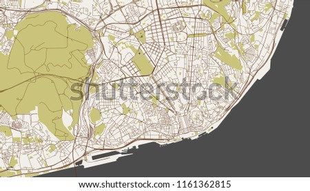 Vector Map City Lisbon Portugal Stock Vector (Royalty Free ...