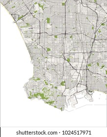 vector map of the city of Los Angeles, USA