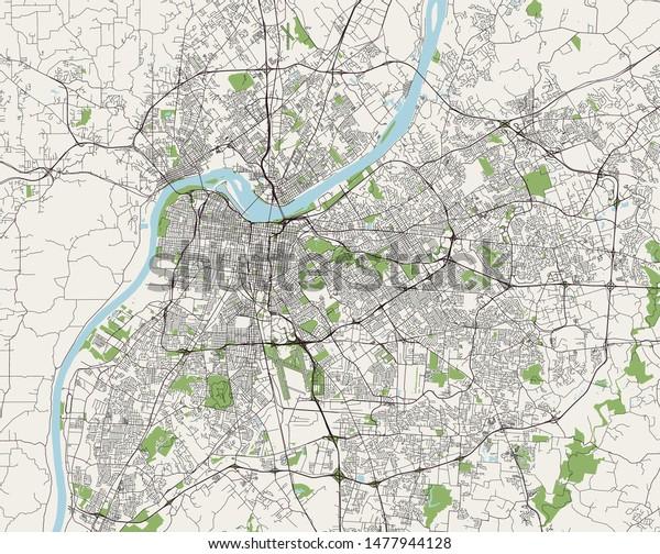 Vector Map City Louisville Kentucky Usa Stock Vector ...