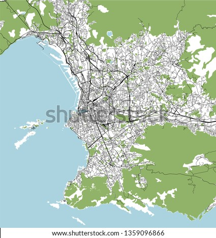 Marseille On Map Of France.Vector Map City Marseille France Stock Vector Royalty Free