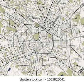 vector map of the city of Milan, capital of Lombardy, Italy
