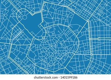 Vector map of the city of Milan, Italy
