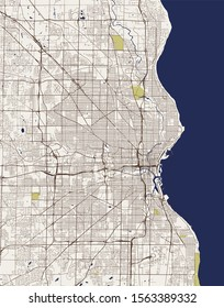 vector map of the city of Milwaukee, Wisconsin, United States America