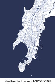 vector map of the city of Mumbai, Indian state of Maharashtra