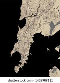 vector map of the city of Mumbai, Indian state of Maharashtra