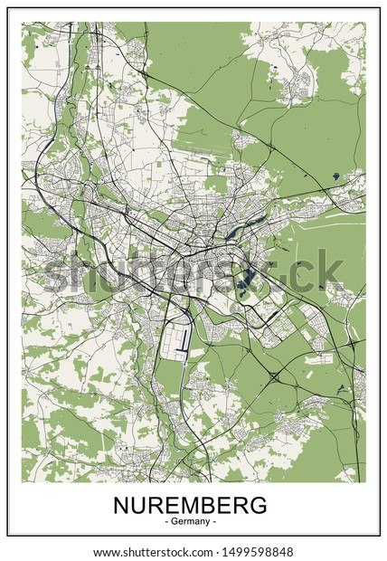 Nuremberg Map Of Germany.Vector Map City Nuremberg Germany Stock Vector Royalty Free