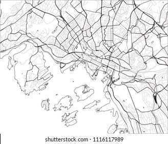 vector map of the city of Oslo, Norway