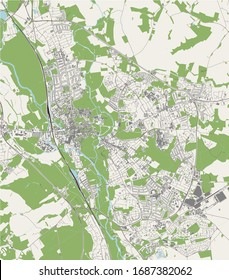 vector map of the city of Oxford, Oxfordshire, South East England, England, UK