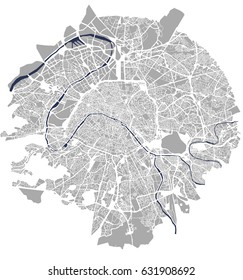 vector map of the city of Paris, France