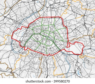 Vector map of the city of Paris. Roads