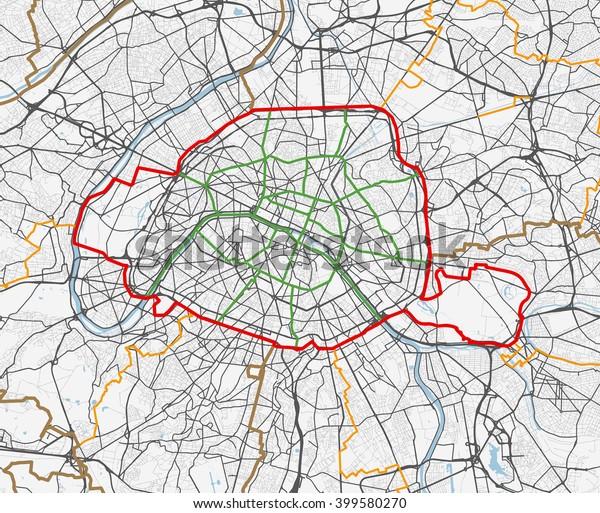 Vector Map City Paris Roads Stock-Vrgrafik (Lizenzfrei) 399580270 on